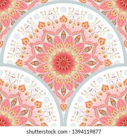 Seamless background with a round ornament. Oriental traditional floral pattern with peacock feathers