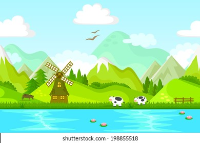 seamless background of rural area with windmill and farm animals