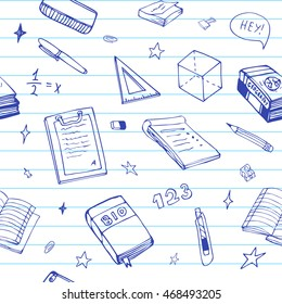 Seamless background with school object and symbols on blue ruled paper. Vector education pattern doodle.