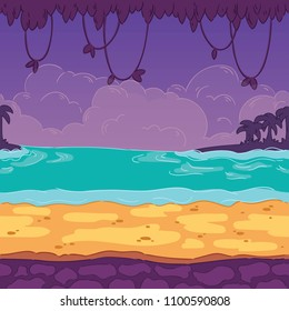 Seamless background sea. Landscaped seashore for game design. Parallax is ready.