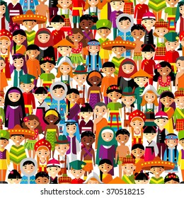 Seamless background with set of multicultural national children. Seamless background of international people in traditional costumes .