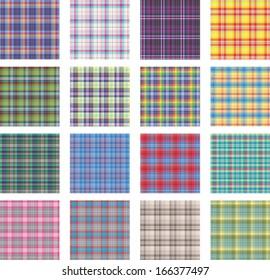 Seamless background set of plaid pattern, vector illustration