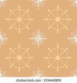 Seamless background. Ship rudders with wind rose or sea compass. Marine theme.