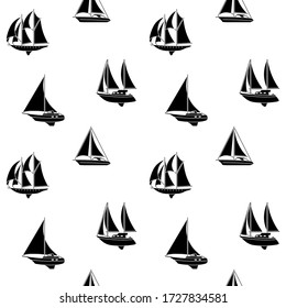 Seamless background of ships and boats. Barge and cargo ship, tanker, sailing vessel, cruise liner, tugboat, fishing and speed boat. Vector illustration
