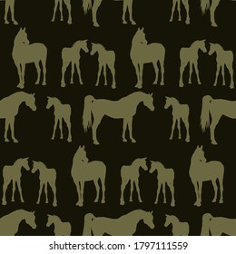 seamless background of Silhouette figures of Arabian horses, mares with foal and stallion on color background