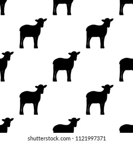 Seamless background, silhouette of lambs