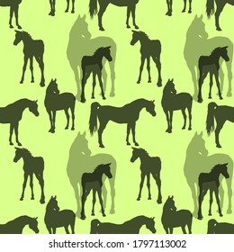 seamless background of silhouetted figures of Arabian horses, mares with foal and stallion on a colored background