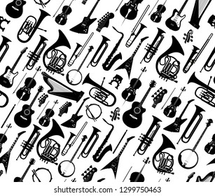 Seamless background with silhouettes of musical instruments black color isolated on white - Vector illustration