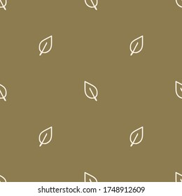 Seamless background single forest leaf gender neutral baby pattern. Simple whimsical minimal earthy 2 tone color. Kids nursery wallpaper or boho woodland nature fashion all over print.