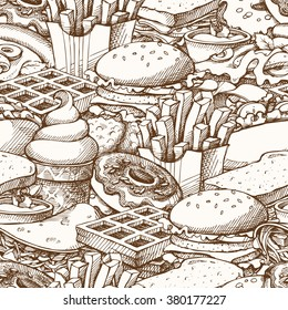 Seamless background with sketch fast food. Pattern with hand drawn elements