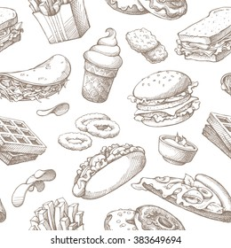 Seamless background with sketch fast food. Pattern with hand drawn elements on white background. Fast food restaurant, menu. Hot dog, sandwich, waffles, pizza, french fries, ice cream, donuts, burger