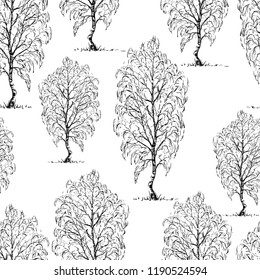 Seamless background of sketches of birch trees
