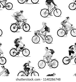 Seamless background of the sketches of young cyclists