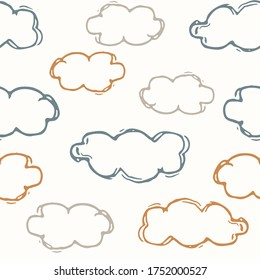 Seamless background sky cloud gender neutral baby pattern. Simple whimsical minimal earthy 2 tone color. Kids nursery wallpaper or boho cloudy fashion all over print.