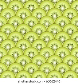 A  seamless background of sliced kiwi fruit. EPS10 vector format.