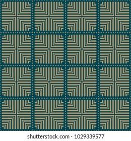Seamless background southeast Asian retro aboriginal traditional art textile pattern square check cross round dot line