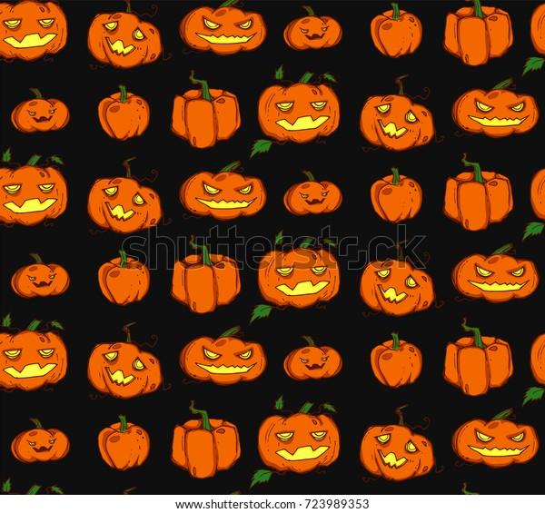 seamless background spooky halloween pumpkin 600w 723989353