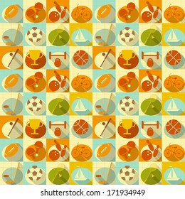 Seamless Background - Sports in Retro Style - Flat Design. Square format. Vector Illustrations