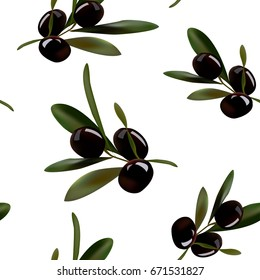 Seamless background of sprigs of olives.