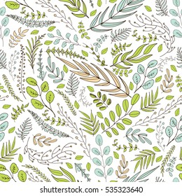Seamless background with spring green hand drawn leaves and brunches in the folk style