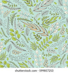 Seamless background with spring green, rose and white leaves and brunches in the folk style