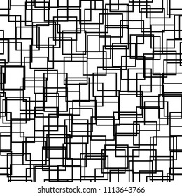 Seamless background with squares. Modern minimalistic style. One color black on white. Geometric pattern. Minimal design for printing on fabric, paper, wrapper, textile. Vector illustration
