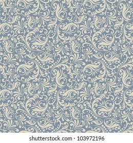 Seamless background in the style of damask blue