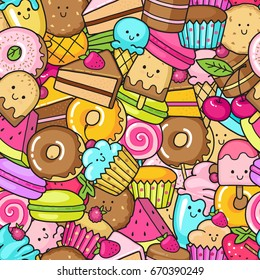 Seamless background of sweet and dessert doodle. Pattern with cute cake, sweet donut, cartoon cookies and macaroon