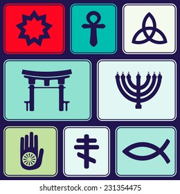 seamless background with symbols of religion