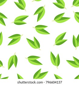 Seamless background with tea leaves. Vector illustration