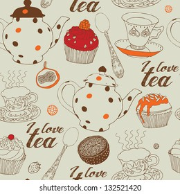 Seamless background with tea and sweets. Vector illustration.