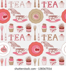 Seamless background with tea and sweets.Vector illustration.