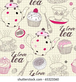seamless background with tea , vector illustration