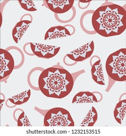 Seamless background with a teapot and cups.