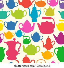 Seamless background of teapots of different shapes