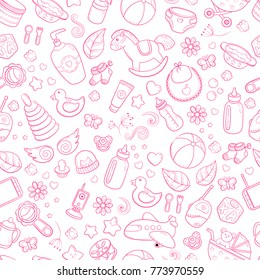 Seamless background, texture, backdrop, pattern, wallpaper with children cartoon doodle toys. Educational games for kids illustration. Baby shower. Icons set. Newborn baby vector collection. baby care