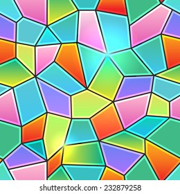 Seamless background texture in the form of kaleidoscope stained glass colorful