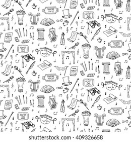 Seamless background theater hand drawn doodle Theatre set Vector illustration Sketchy theater icons Acting performance elements Ticket Masks Lyra Curtain stage Musical notes Pointe shoes Make-up tools