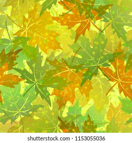 Seamless Background, Tile Pattern of Green Summer and Orange and Brown Autumn Maple Tree Leaves. Vector