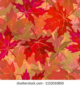Seamless Background, Tile Pattern of Red Autumn Maple Tree Leaves. Vector