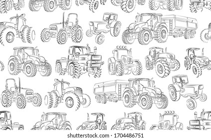 Seamless background with tractor sketches.