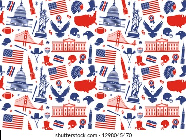 Seamless background with traditional symbols of architecture and culture of the USA