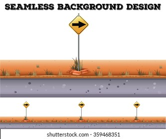 Seamless background with traffic sign illustration