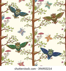 Seamless background with tree, owl, nest with egg, mushroom and butterfly. Doodles.