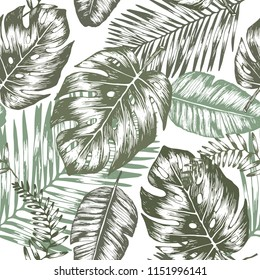 Seamless background with tropic leaves, graphic background