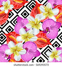 Seamless background with tropical flowers
