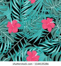 Seamless background with tropical flowers isolated.