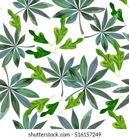 Seamless background with tropical leaves