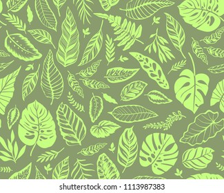 Seamless background with tropical leaves. Bright jungle pattern with leaves and exotic plant. The elegant template with Hawaiian motifs, on yellow-green background.