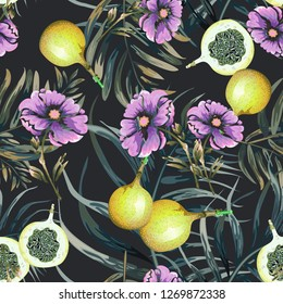 Seamless background with tropical leaves and fruits. Seamless pattern with Granadillas.